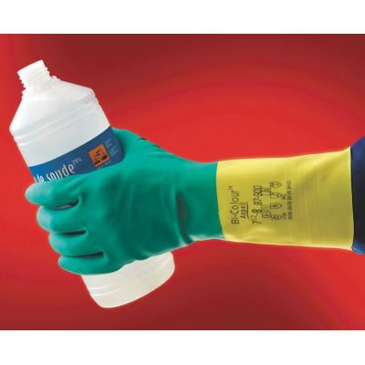 Rukavice Ansell BI-COLOUR, chemické, latexové, veľkosť 9 (L)