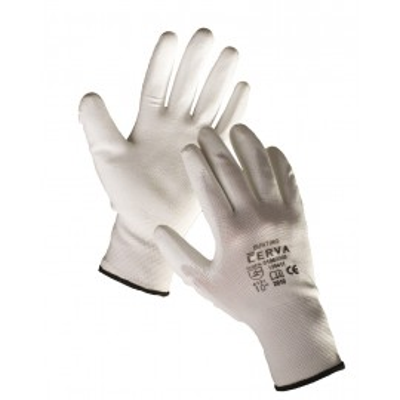 Rukavice BUNTING, biele, nylon, dlaň a prsty polyuretán
